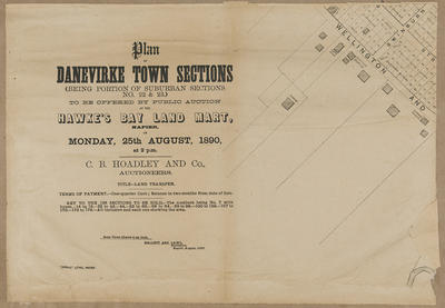 Plan, Dannevirke Township sections for sale; Herald Lithography; Hallet & Laing