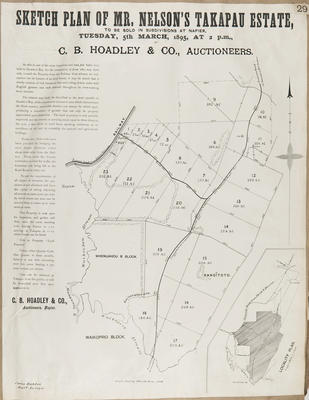 Plan, Takapau Estate for sale; Rochfort, James