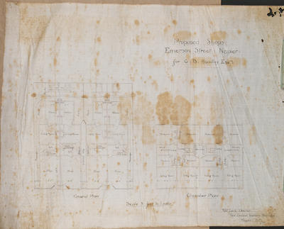 Architectural plan, proposed shops on Emerson Street; Lamb, Robert