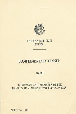 Menu, Hawke's Bay Club, Napier