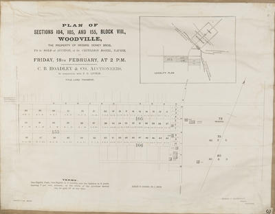 Plan, Woodville sections for sale, Doney brothers; Herald Lithography; Fraser & MacDonald