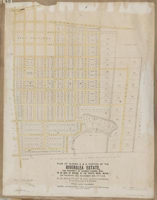 Plan, Riverslea Estate portions for sale