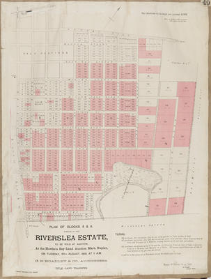 Plan, Riverslea Estate portions for sale; Herald Lithography; Ellison, Henry