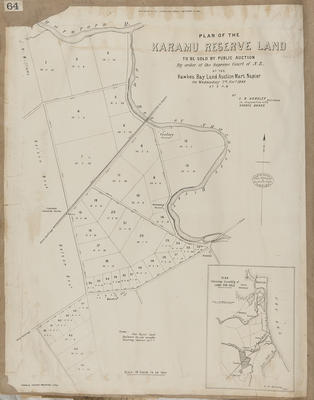 Plan, Karamu reserve land for sale; Kennedy, Arthur Angus; Herald Lithography; Kennedy, Charles Dugald