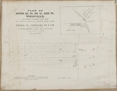 Plan, Woodville sections for sale, Doney brothers; Fraser & MacDonald; Herald Lithography