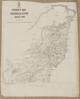 Triangulation map, Poverty Bay, Sheet No 6; Department of Lands & Survey; McKerrow, James; Pollen, Charles