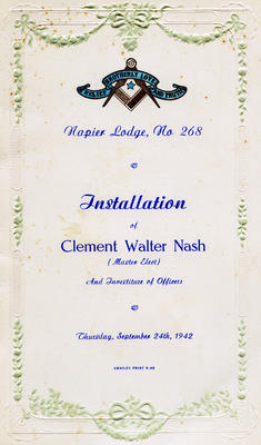 Programme, Installation of Clement Walter Nash