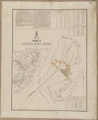 Plan, Tahoraite SD land for sale; Baker, Horace; Department of Lands & Survey; Duncan, George; McKerrow, James