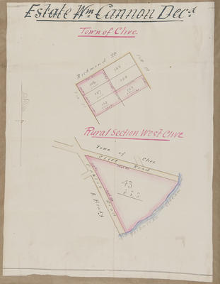 Plan, William Cannon's land lots