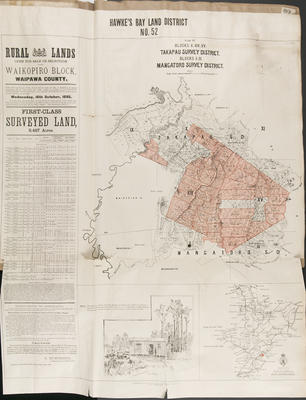 Plan, Hawke's Bay district No 52 land for sale; Smith, Stephenson Percy; Department of Lands & Survey; Barron, A