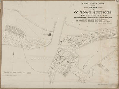 Plan, Napier Harbour Board town sections for sale; Herald Lithography; Napier Harbour Board