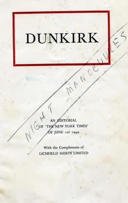 Booklet, Dunkirk