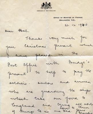 Letter, Minister of Finance