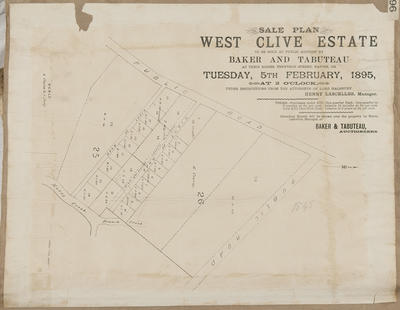 Plan, West Clive Estate sections for sale
