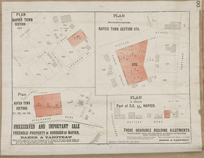 Plan, Napier sections  for sale; Herald Lithography