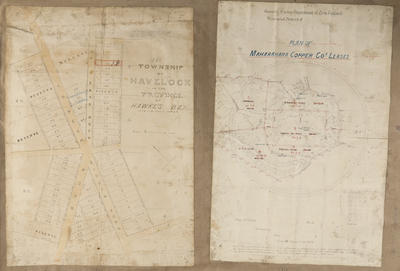 Cadastral map, Township of Havelock North and Maharahara copper lode; Koch, Augustus Karl Frederick