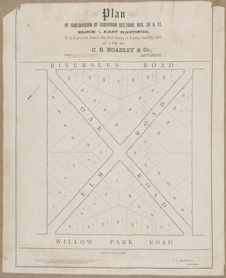Plan, subdivisions in Hastings; Kennedy, Charles Dugald; Price, Robert; Daily Telegraph