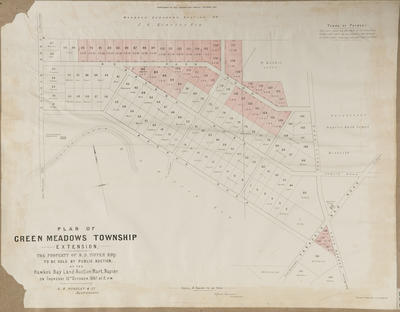 Plan, Greenmeadows township; Jarman, Alfred; Herald Lithography; Hawke's Bay Herald