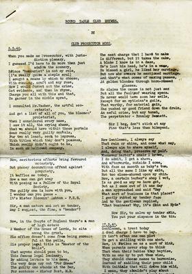 Manuscript, Round Table Club Rhymes