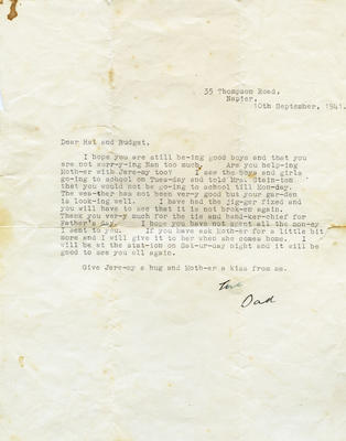 Letter, Clement Walter Nash