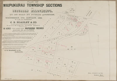Plan, Waipukurau township sections; Herald Lithography; Kennedy Brothers