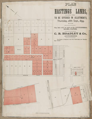 Plan, Hastings lands for sale; Herald Lithography