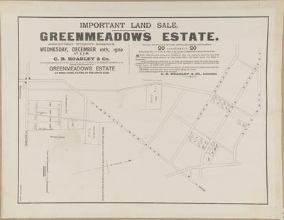 Plan, Greenmeadows Estate land for sale; Herald Lithography
