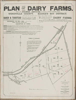 Plan, part of the Oringi Estate land for sale