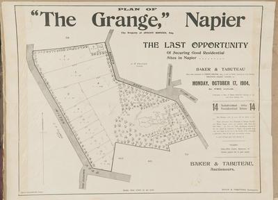 Plan, The Grange land for sale; Daily Telegraph; Baker & Tabuteau