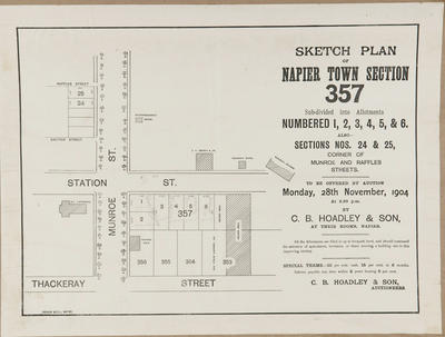 Plan, Napier town sections for sale; Herald Lithography