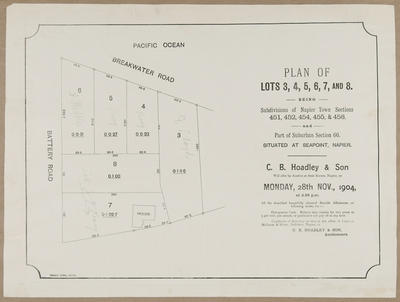 Plan, Napier town sections for sale