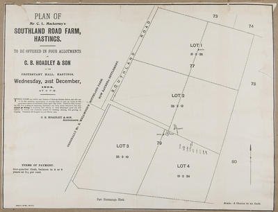 Plan, Mr C L Mackersey's Southland Road farm for sale; Herald Lithography