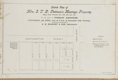 Plan, Mr S J D Pattison's Hastings property for sale; Herald Lithography
