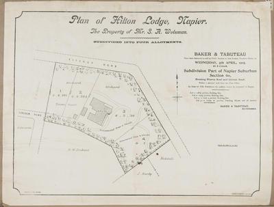 Plan, Hilton Lodge for sale; Herald Lithography; Baker & Tabuteau