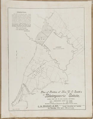 Plan, portion of Hon W C Smith's Blairgowrie Estate for sale