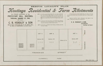 Plan, Hastings residential and farm allotments for sale; Herald Lithography