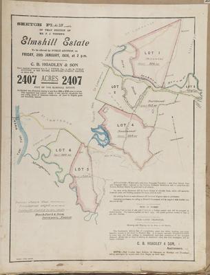 Plan, portion of Elmshill Estate land for sale