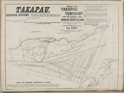 Plan, Takapau suburban sections for sale; Herald Lithography; Baker, Horace