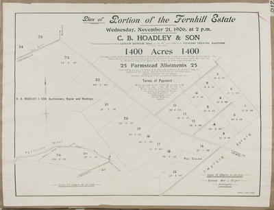 Plan, Fernhill Estate land for sale; Herald Lithography; Kennedy Bros & Morgan Licensed Surveyors