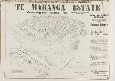 Plan, Te Mahanga Estate land for sale; Kennedy Bros & Morgan Licensed Surveyors; Herald Lithography