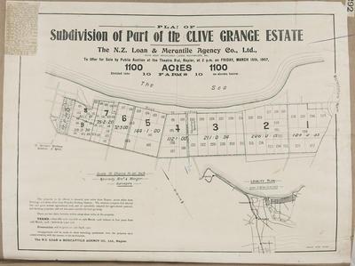 Plan, Clive Grange Estate land for sale; Herald Lithography; Kennedy Bros & Morgan Licensed Surveyors