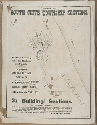 Plan, South Clive township sections for sale; Herald Lithography