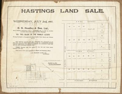 Plan, Hastings land for sale; Herald Lithography; Rochfort & Son