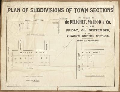 Plan, Hastings town sections for sale; Herald Lithography; Rochfort & Son