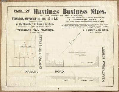 Plan, Hastings business sites for sale; Herald Lithography; Rochfort & Son