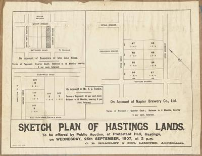 Plan, Hastings land for sale; Herald Lithography