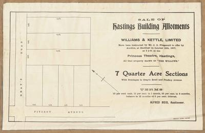 Plan, Hastings building allotments for sale; Herald Lithography