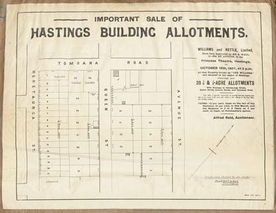 Plan, Hastings building allotments for sale; Herald Lithography; Rochfort & Son