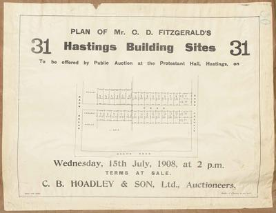 Plan, C D Fitzgerald's Hastings sites for sale; Herald Lithography