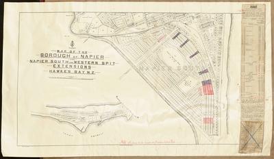 Cadastral map, borough of Napier and Napier South; Humphries, Thomas; MacKay, John